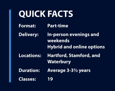 Quick facts--format: part-time; Delivery: in-person evenings and weekends, hybrid and online options; Locations: Hartford, Stamford, and Waterbury; Duration: average 3-3 1/2 years, Classes: 19